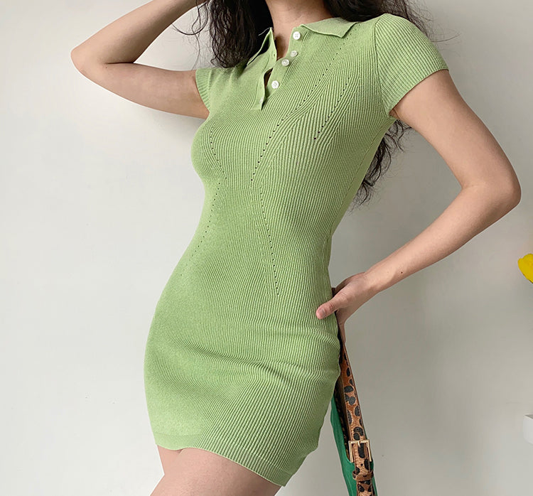 Load image into Gallery viewer, Tennis Club Knitted Polo Dress
