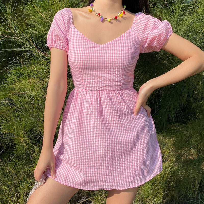 Delilah Gingham Puff Dress ~ HANDMADE