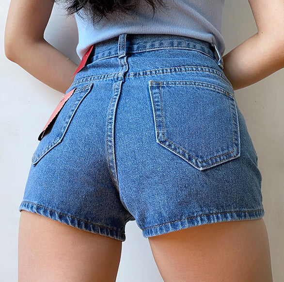 Load image into Gallery viewer, Multi-buckle High-waisted Denim Shorts - Pellucid