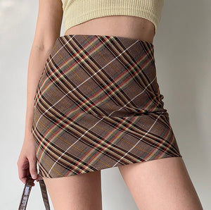 Coffee Break Plaid Skirt