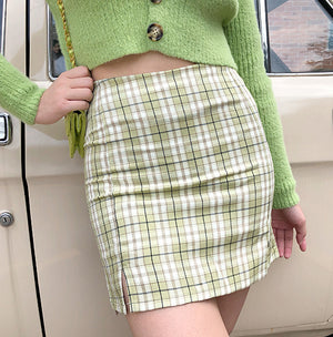 Load image into Gallery viewer, Cara Plaid Skirt // Green - Pellucid