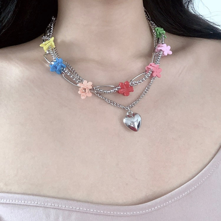 Flower Clip Chain Locket Choker Necklace - Pellucid