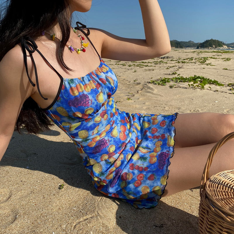 Fruit Basket Mesh Dress [Handmade] - Pellucid