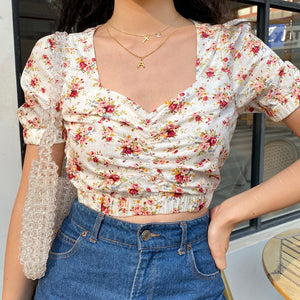 Load image into Gallery viewer, Mabel Retro Floral Blouse [Handmade] - Pellucid
