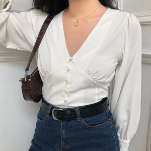 Load image into Gallery viewer, Swan Lantern Blouse - Pellucid