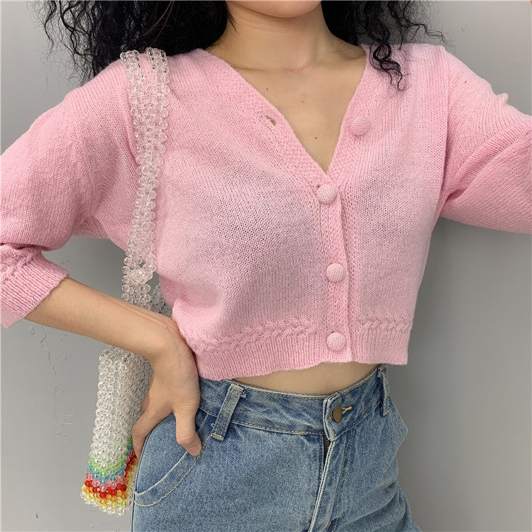 Load image into Gallery viewer, Bubblegum Knitted Crop Cardigan - Pellucid