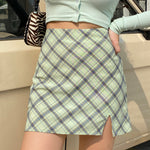 Mint Plaid Mini Skirt