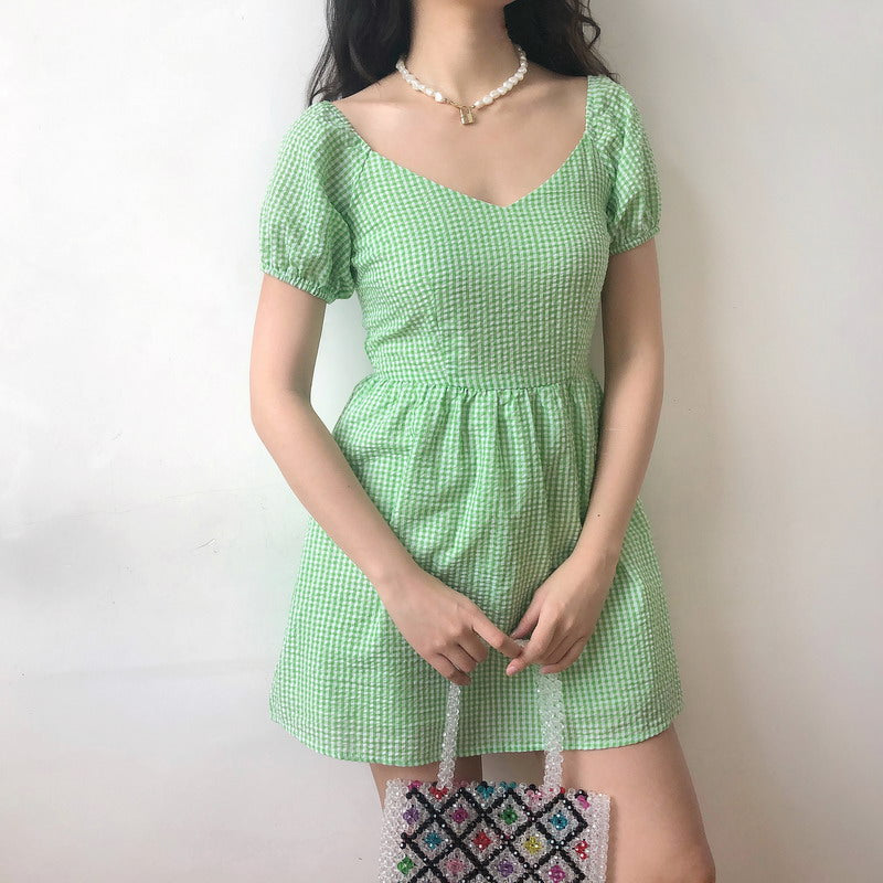 Delilah Gingham Puff Dress [Handmade] - Pellucid