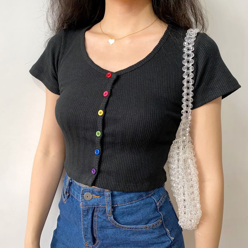 Load image into Gallery viewer, Rainbow Buttons U-Neck Tee [Handmade] - Pellucid