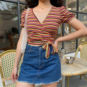 Colorful Striped Wrap Top [Handmade] - Pellucid