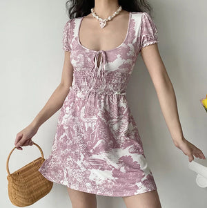 Load image into Gallery viewer, Lina Landscape Painting Dress ~ HANDMADE