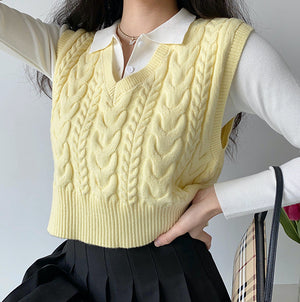 Canary Twist Knit Vest