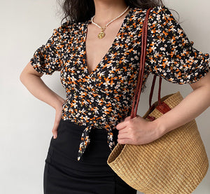 Load image into Gallery viewer, Orange Flower Wrap Top ~ HANDMADE