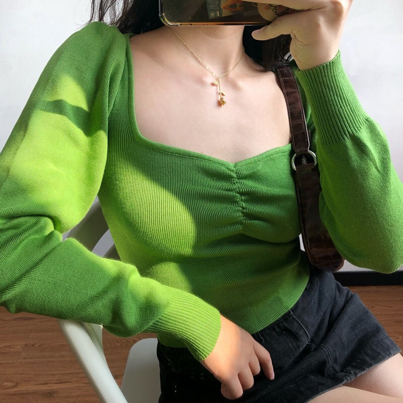 Green Oxford Knit Sweater [Handmade]