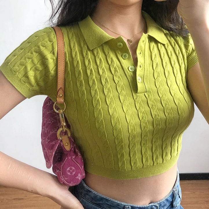 Knit Polo Crop Top