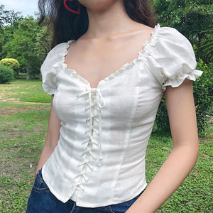 Cassidy Corset Lace Up Top - Pellucid