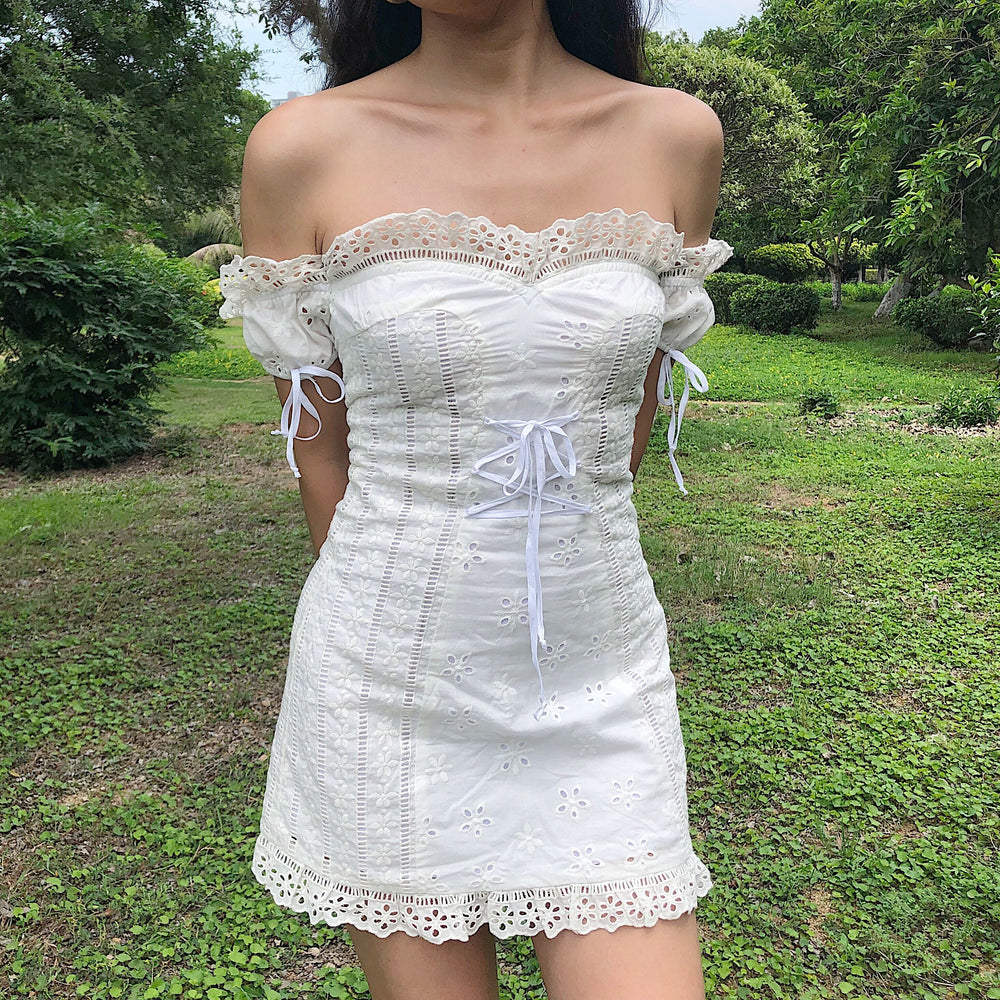 Load image into Gallery viewer, Anabelle Eyelet Milkmaid Dress [Handmade] - Pellucid