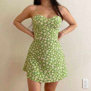 Load image into Gallery viewer, Sage Daisy Bustier Dress ~ HANDMADE