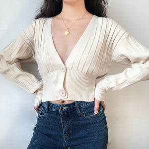 Load image into Gallery viewer, Thai Retro V-neck Knit Cardigan - Pellucid