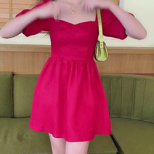 Load and play video in Gallery viewer, Princess Tomato Red Puff Dress ~ HANDMADE