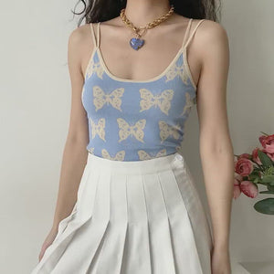 Load and play video in Gallery viewer, Y2K Butterfly Blues Camisole ~ HANDMADE