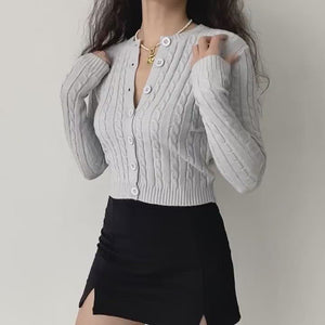 Load and play video in Gallery viewer, Zina Twist Knit Cardigan