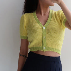 Green and Yellow Fuzzy Cardigan - Pellucid