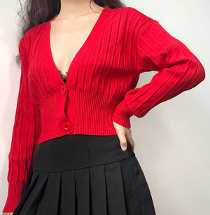 Thai Retro V-neck Knit Cardigan - Pellucid