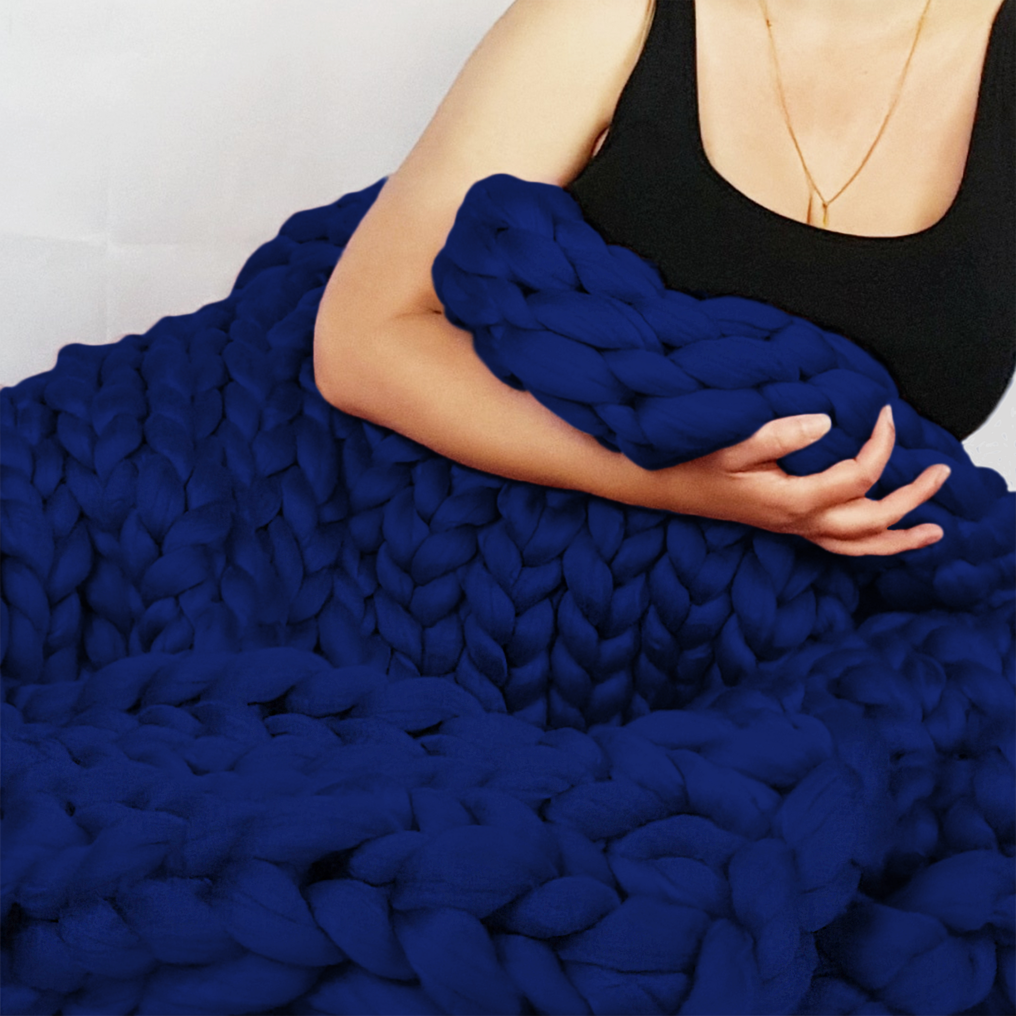 Chunky Knit Blanket in Bright Navy Vegan Fiber
