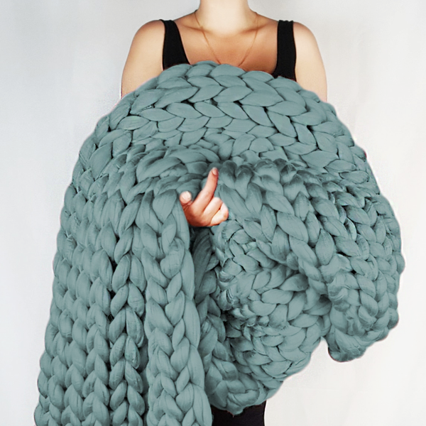 Chunky Knit Blanket in Light Teal Vegan Fiber