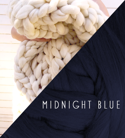 Chunky Knit Blanket in Midnight Blue Vegan Fiber