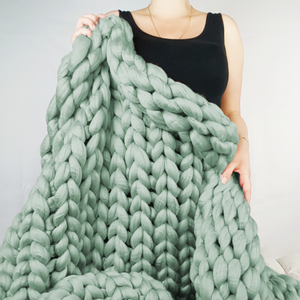 Chunky Knit Blanket in Mint Vegan Fiber