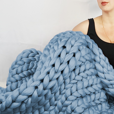 Chunky Knit Blanket in Sky Blue Vegan Fiber