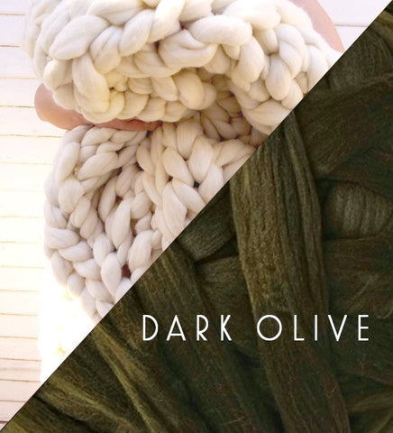 Chunky Knit Blanket in Olive Vegan Fiber