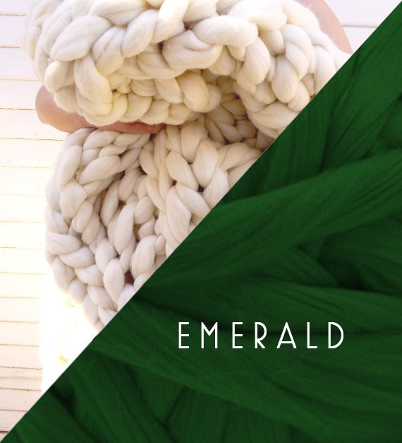 Emerald Vegan Chunky Knit Braid Blanket