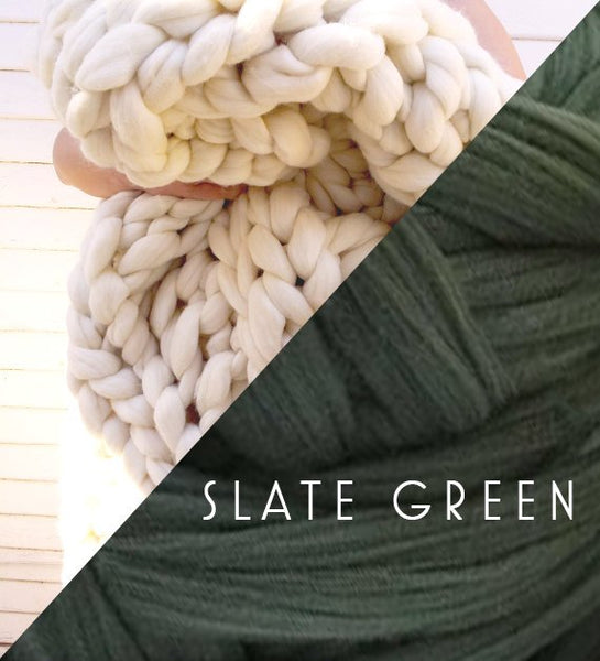 Chunky Knit Blanket in Slate Green Vegan Fiber