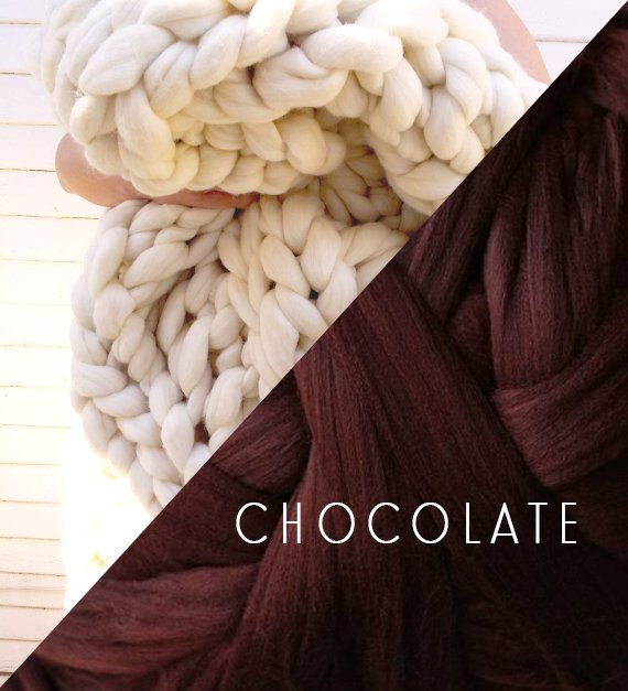 Chocolate Brown Vegan Chunky Knit Braid Blanket