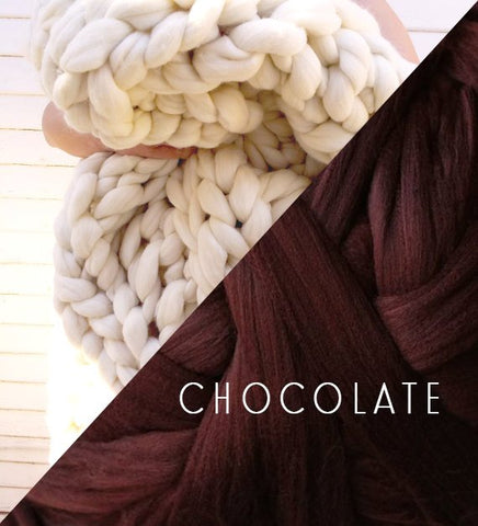 Chunky Knit Blanket in Chocolate Brown Vegan Fiber