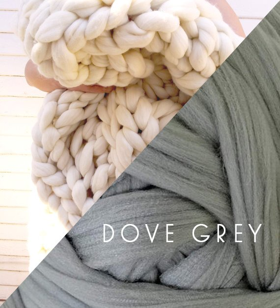 Chunky Knit Blanket in Dove Grey Vegan Fiber