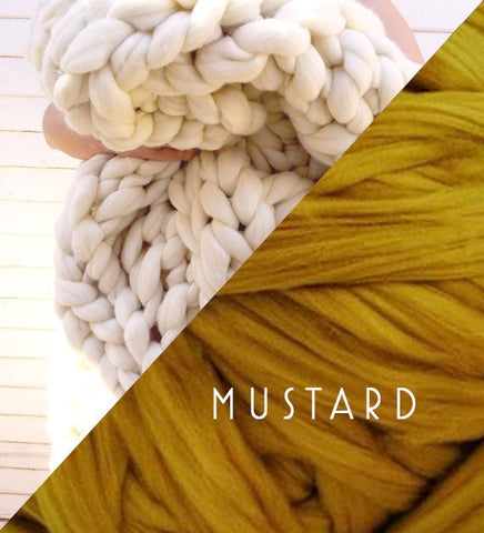 Chunky Knit Blanket in Mustard Yellow Vegan Fiber