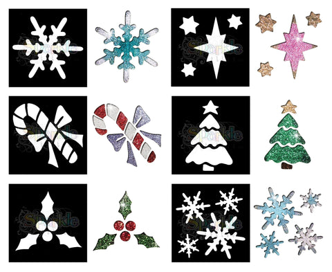 Glitter Tattoo -Christmas Stencil Collection (12 pieces)