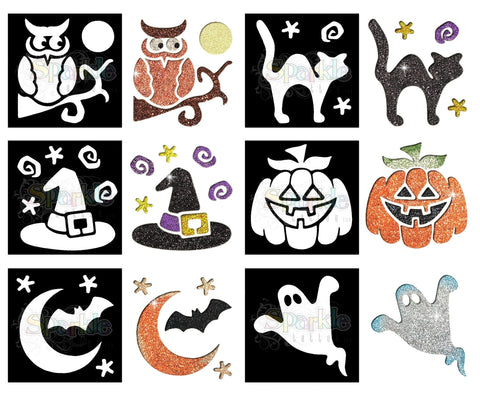 Glitter Tattoo -Halloween Stencil Collection (12 pieces)