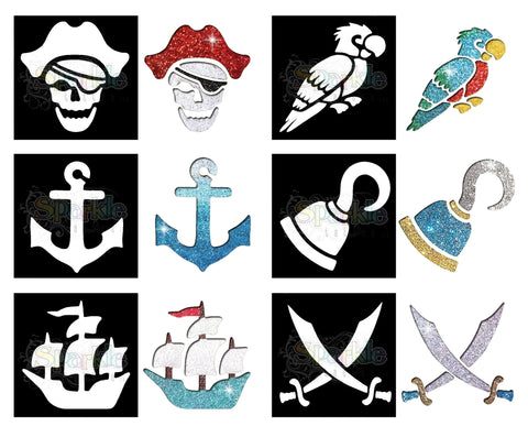 Glitter Tattoo - Pirate Stencil Collection (12 pieces)