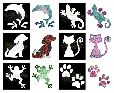 Glitter Tattoo - Animal Stencil Collection (12 pieces)