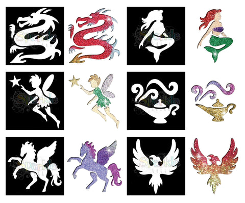 Glitter Tattoo - Mystical Stencil Collection (12 pieces)