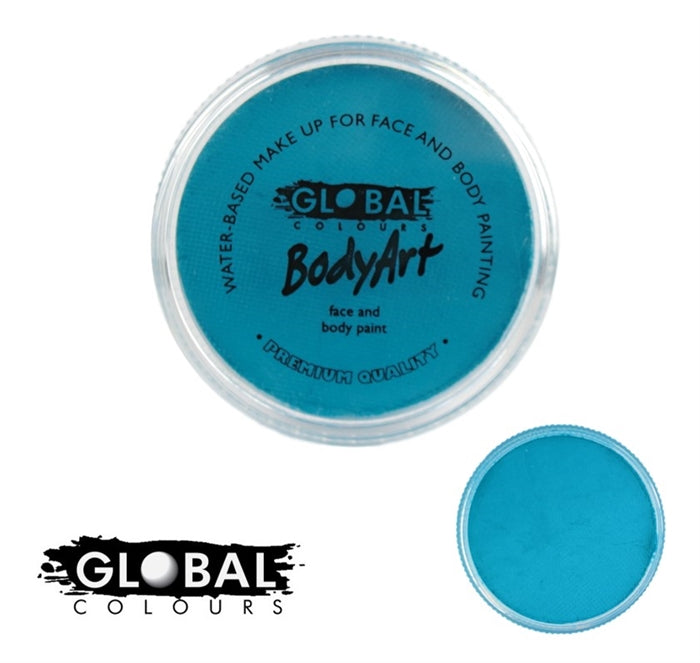 teal face paint by global