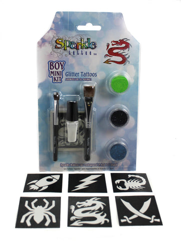 Boy Mini Stencil Kit - Glitter Tattoo