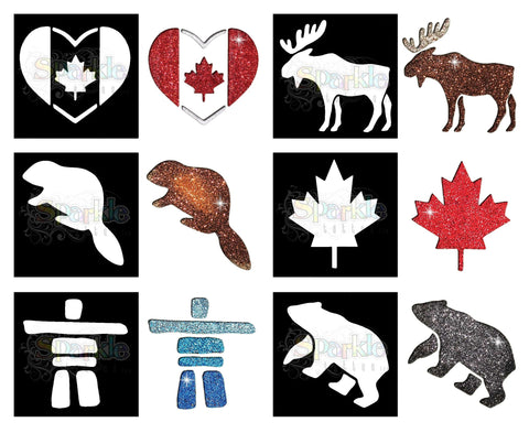 Glitter Tattoo - Canada Stencil Collection (12 pieces)
