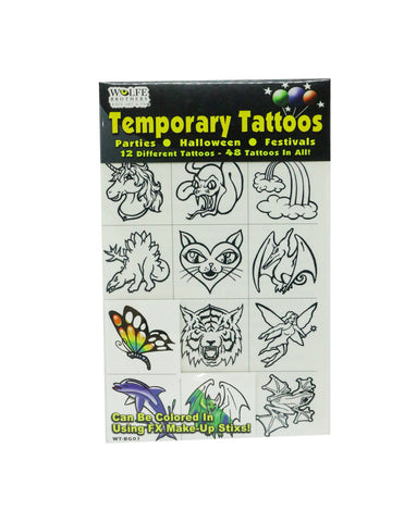 Color-me-in Temporary Tattoos - Wolfe