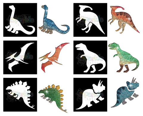 Glitter Tattoo -Dinosaur Stencil Collection (12 pieces)